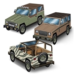 The 3-D SUV Centerpieces are printed on cardstock and measure 9 inches long and 4 1/2 inches tall. Printed on two sides. Contains three (3) per package. Assembly required.