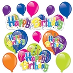 Happy Birthday Cutouts feature cheerful colors printed on heavy card stock. Each pack includes a Happy Birthday streamer,