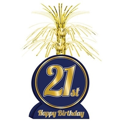 The 21st Birthday Centerpiece is made of navy cardstock with a gold foil cascade top. Measures 7 inches wide and 13 inches tall. Contains one (1) per package. Easily assembled.