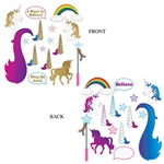 The Unicorn Glittered Photo Fun Signs are made of cardstock and sizes range in measurement from 3 inches to 19 inches. Printed two sides. One side is embellished with glitter. Contains 16 pieces per package.