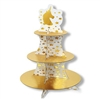 This Unicorn Cupcake Stand features a heavy board stock construction, printed in a white and gold color scheme. Three shelves are covered in gold foil, and the center support is printed white with gold foil stars. A gold unicorn head is printed at the top