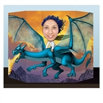 The Fantasy Photo Prop is the image of a fire breathing dragon. Stick your head through the cutout hole and you will appear to be riding the dragon. Made of cardstock. Measures 25 inches tall and 37 inches wide. Printed one side. One per pack.