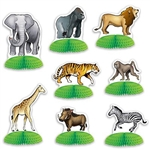 The Jungle Safari Animal Mini Centerpieces are made of cardstock atop a green tissue base. Sizes range from 3 inches to 5 1/2 inches. Features a lion, giraffe, tiger, monkey, warthog, elephant, zebra, and gorilla. Contains 8 per package. Fully Assembled.