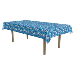 The Mermaid Scales Tablecover is made of plastic and measures 54 inches by 108 inches. It features vibrant colored scales including turquoise, various shades of purple, and blue with hints of yellow to add brightness! Contains one per package.