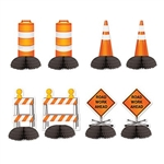The Construction Mini Centerpieces are made of cardstock with a tissue base. Completely assembled and open full round. Range in measurement from 5 1/4 inches to 5 1/2 inches. Features traffic cones, Road Work Ahead signs, and barricades. Sold 8 per pack.