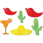 The Foil Fiesta Silhouettes are made of cardstock and printed on two sides with foil on one side. Each package includes an assortment of colorful cutouts of chili's, cacti, a margarita, and a hat. Measure from 8 3/4 inches to 15 1/4 inch. 6 per package.