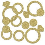 The Diamond Ring Deluxe Sparkle Confetti are made of gold glittered cardstock and are glittered on two sides. Each package includes an assortment of diamond rings (2 1/8 inch), rings (1 1/4 inch), and dots (3/4 inch). Approximately 1/2 ounce per bag.