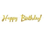 The Foil Happy Birthday Streamer - Gold is made of metallic foil and printed on two sides. Each streamer measures 9 inches tall and 5 feet long. Package includes one ribbon and letters. One per package. Simple assembly required.