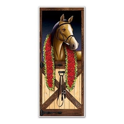 The Horse Racing Door Cover is made of all-weather plastic and measures 30 inches tall and 6 feet long. Features a horse in a stable draped with a scarf made of roses. Can be used both indoors and outdoors. Contains one (1) per package.