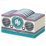 The 3-D Rock & Roll Radio Centerpiece is made of cardstock and measures 5 3/4 inches tall and 9 1/2 inches wide. Its intricate details and classic coloring is the perfect embellishment for a 50's themed party. One (1) per package. Simple assembly required