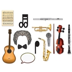 The Music Photo Fun Signs are made of cardstock and printed on two sides with different designs. The sizes range in measurement from 4 1/2 inches to 17 3/4 inches. Contains fourteen (14) pieces per package