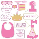 The 1st Birthday Photo Fun Signs are made of cardstock and printed on two sides with different designs and colors. One side is pink, gold, and white and the other is purple, gold, and white. Sizes range from 3 inches to 10 inches. Contains 14 per package.