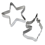 The Unicorn Cookie Cutters are stainless steel and dishwasher safe. The unicorn head measures 2 1/4 in by 3 1/2 in and the star measures 3 in by 3 in. Contains two (2) cookie cutters per package.