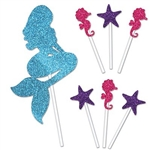 The Mermaid Cake Topper is made of cardstock and printed on one side. Features 1 blue mermaid (4 1/4 in by 8 3/4 in), 3 cerise seahorses (1/4 in by 3 1/2 in), and 3 purple starfish (1 1/4 in by 3 1/2 in). Contains seven (7) pieces per package.