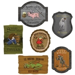 The Medieval Tavern Sign Cutouts are made of cardstock and printed on two sides. Sizes range in measurement from 10 3/4 inches to 14 inches. Printed with different funny phrases and pictures. Contains 6 cutouts per package.