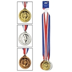 The Gold, Silver & Bronze Medals w/Ribbon are made of plastic with a red, white, and blue ribbon attached. Medals measure 2 inches and ribbon measures 30 inches. Contains three (3) per package. Due to hygiene-related concerns, this item cannot be returned