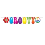The Groovy Streamer is made of cardstock and printed on one side. Measures 7 1/2 in by 5 feet long. Each package Includes (1)  cord, (2) icons, and (6) letters. Icons include a peace sign and retro flower. Assembly required. One (1) streamer per package.