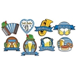 The Oktoberfest Cutouts are made of cardstock and printed on two sides with different designs. They range from 8 1/2 inches to 13 inches. Feature images of beer, brats, musical instruments and the Bavarian colors. Contains eight (8) per package.