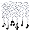 Hang our Musical Note Whirls for your next music themed party and add a classy and interesting aspect to your decor. With black notes suspended from silver whirls the Musical Note Whirls are just the thing for any musical style!