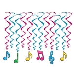 Need color, interest and movement for your music themed party?  Then you need these Neon Musical Notes Whirls!  Each package includes 12 whirls.  Six are 17.5 inches long and six are 32 inches long with 6.5 inch tall attached danglers.