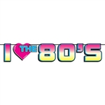 The I Love The 80's Streamer is made of cardstock and printed on one side only. Its features vibrant colors including pink, blue, and yellow. Measures 7 inches tall and 6 feet long. Contains one (1) per package. Simple assembly required