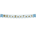 "The Oktoberfest Streamer is made of cardstock and printed on two sides with different designs. One side reads ""Ein Prosit"" and other reads ""Oktoberfest"", 2 blue and white harlequin and 2 beer mug pennants. 6 in by 9 feet. 1 per pack. Assembly required."