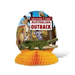 The Australian Centerpiece is made of cardstock with a tissue base. Printed two sides. Printed with a sign and various animals from Australia. Measures 10 in tall and 8 1/4 in wide. Completely assembled, opens full round. One per package.