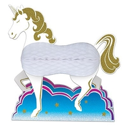 The Unicorn Centerpiece is made of cardstock and tissue. Its head, legs, and tail are cardstock and its body is white tissue. Measures 10 inches tall and approx. 11 inches wide. Completely assembled, opens full round. Contains one (1) per package.