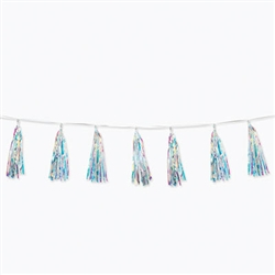 "Searching for a classic look that adds sparkle, shine and iridescence?  This Iridescent Tassel is just what you're looking for! Each package has ten 13"" tassels strung on an 8' long white strand. Completely assembled and easy to hang!"