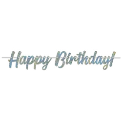 Say Happy Birthday in a big way, and if you're going to say it, say it in sparkles!  This Colorful, bright and sparkly banner requires simple assembly and comes with a 12 foot long white ribbon to make hanging easy.