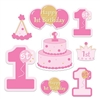 The 1st Birthday Cutouts are made of cardstock and printed on two sides with different colors. One side is pink and the other is purple. Sizes range in measurement from 7 inches to 16 inches. Contains 8 pieces per package.