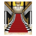 The Grand Staircase Insta-Mural Photo Op is made of plastic and measures 5 feet by 6 feet. Can be used both indoors and outdoors and is a complete wall decoration. Contains one (1) per package.