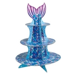 The Mermaid Cupcake Stand is made of cardstock and measures 16 inches tall. Features scales in varying shades of blue, green, and purple and is topped with a mermaid tail. Contains one (1) per package. Assembly required.