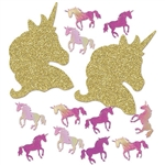 "Spread a little Unicorn magic with this Deluxe Unicorn Sparkle Confetti.  Package includes gold sparkle unicorn heads and iridescent purple unicorns.  Heads are approximately 1.5"" x 2"", unicorns are approximately .5"" x .5"". Total product weight: 1 ounce."