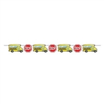 The School Bus Streamer is made of cardstock and printed on one side. It features alternating school bus and stop sign cutouts. Measures 8 feet long and 6 inches tall. Contains one (1) per package. Simple assembly required.