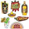 The Fiesta Cutouts are made of cardstock and printed on two sides with different designs. Sizes range from 9 3/4 in to 16 /4 in. Feature cutouts of a sombrero, tequila, chili pepper, margarita, taco bar sign, hot sauce, happy fiesta sign! 7 per package.