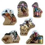 The Rodeo Cutouts are made of cardstock and printed on two sides. Feature cowboys and cowgirls performing different activities on horseback. Sizes range in measurement from 11 1/4 in to 1 1/2 in. Contains six (6) pieces per package.