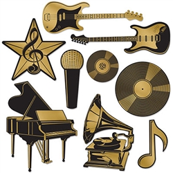 "From classic to rock, we've got you your music genres covered  with our Music Award Foil Cutouts.  Each package includes nine pieces as pictured, printed both sides on high quality cardstock.  The cutouts range in size from 4.25"" to 13.25""."
