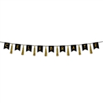 Our 12' long, black and gold Celebrate Tassel Streamer is a classy and eye-catching addition to your party's decor.  Each package includes eight tassels, nine pennants and black ribbon.  Completely assembled and ready to hang.