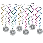 "Looking for just the right decoration to top off your Disco Themed party?  These Disco Ball Whirls are just the  thing.  Each package comes with 6 17.5"" long whirls and six 32.5"" long whirls with Disco Ball danglers attached.  Easy to hang with the includ"