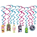 Get that great 50's feel for your you Retro 50's or Soda Shop themed party with these Soda Shop Whirls.  Done in classic soda shop colors and sure to add fun and interest to your decor, each package contains 12 pieces.