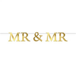 "Celebrate a wedding or anniversary in style with this classic Mr & Mr Foil Streamer.  The package contain 5 pieces plus a 12ft long white ribbon to make hanging easy.  Simple assembly required.  ""MR"" letters are 9.75"" tall, ""&"" is 7.5"" tall."