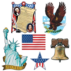 "Whether your celebrating a patriotic holiday or decorating a classroom, these Patriotic Cutouts are sure to add interest to your decor.  Printed both sides on high quality cardstock, each package contains 6 pieces measuring from 8"" to 18"" tall."