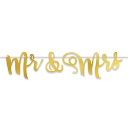 "Add a golden accent to the reception to make memories that will be golden for the rest of their lives.  This striking 5' long by 9.75"" tall Mr and Mrs Foil Streamer will look fantastic hanging behind the bride and groom table.  Simple assembly required."