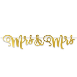 "Celebrate at your reception in style with our 5' long, nearly 10"" high Mrs. & Mrs. Foil Streamer.  Simple assembly is required for this great decoration which includes a 12' ribbon for stringing."