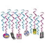 "Looking for the finishing decorating touch for your 1990's themed party?  These I Love The 90's Whirls are the perfect solution.  Each package contains 12 pieces - six 15.5"" whirls and six 33"" whirls with iconic 1990's items as danglers."