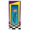 Done in the classic 90's style of bold shapes and eye-catching colors, this door cover is a great detail to add to your party's decor.  Make sure everyone knows where the party is and what your favorite decade was!