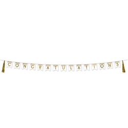 Our 13' long, white and gold Congratulations Tassel Streamer is a modern and eye-catching addition to your party's decor.  Each package includes one streamer which has 15 pennants and 2 tassels. Completely assembled and ready to hang.