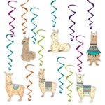 "Add a lot of Llama fun to your Llama themed party with the Llama Whirls.  Each package contains 12 pieces, six 17.5"" long whirls and six 32"" long whirls with Llama danglers.  Danglers are approximately 6"" long.  Easy to hang!"