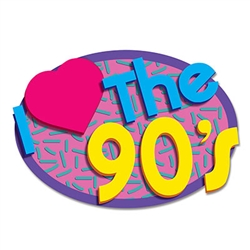"No one will doubt which decade is your favorite with these huge I Love The 90's Cutouts! Printed one side on high quality cardstock, each package contains two 21.5"" long, 14.5"" tall vibrantly colored signs."
